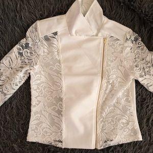 Jackets & Blazers - Large Crop White Lace Jacket w/Gold Zipper